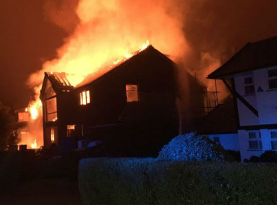 Beeston Fields House In Nottingham In Blazing Fire