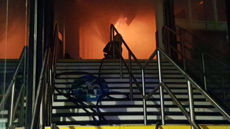 Fire Fighters Tackle Blaze At Nottingham Station