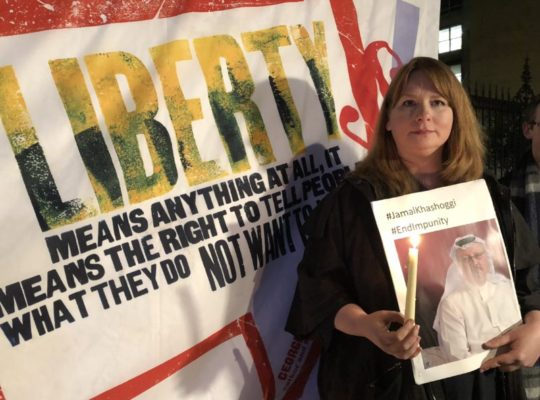 National Union Of Journalists Hold Vigil For Khashoggi