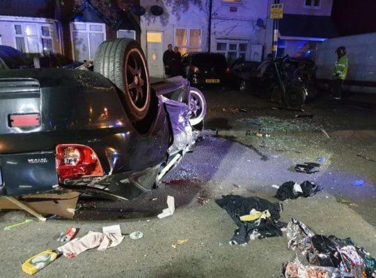 Birmingham Police Car Chase Led To Smashed  Overturned Vehicle