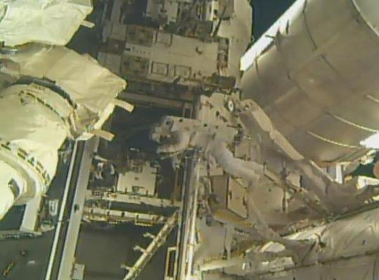 Spacewalking Astronauts add Parking spot to International Space Station