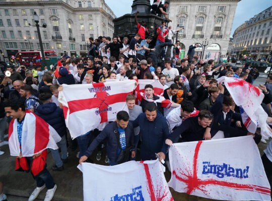 England Fans Celebrate Momentous  Semi Final Win Against Denmark