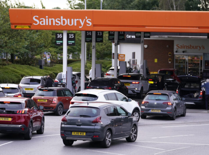Fears That Panic Buying At  UK Petrol Stations Could Affect Key Workers