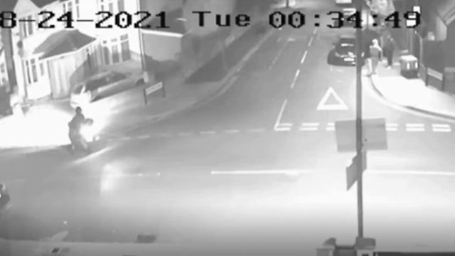 Met Police Release CCTV  Footage Of Man On Moped Shooting Pair While Chatting
